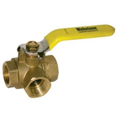 Picture of Webstone 40642 3 Way L-Port Ball Valve - 1/2-in.